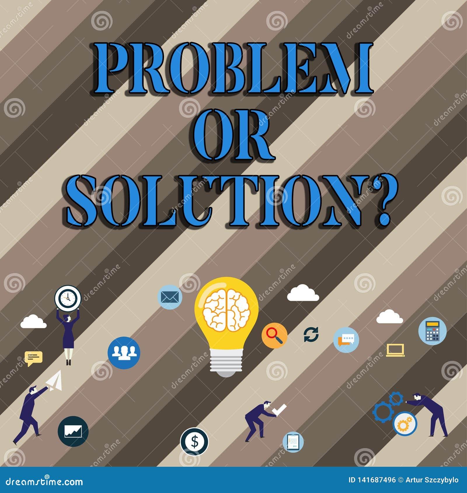 Problème conceptuel ou Solutionquestion d apparence d écriture de main La présentation de photo d affaires pensent résolvent la s