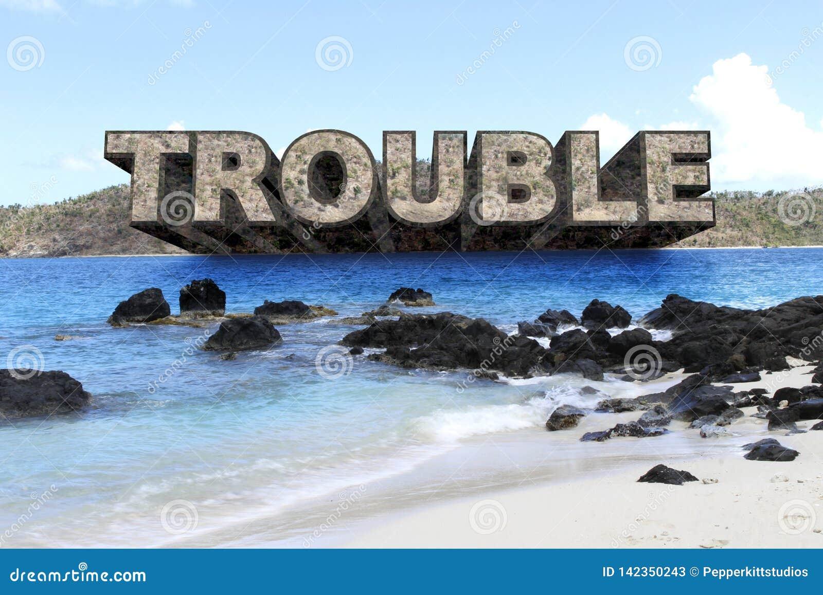 PROBLEM i PARADISE - stor text sticker fram från ön