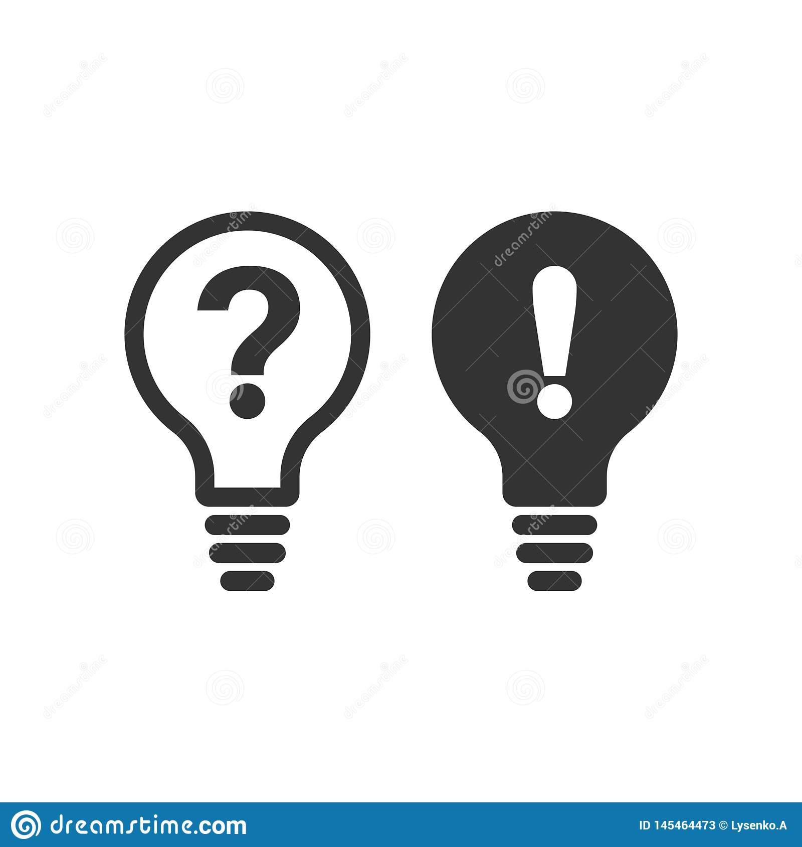 Problem Solution Icon In Flat Style. Light Bulb Idea ...