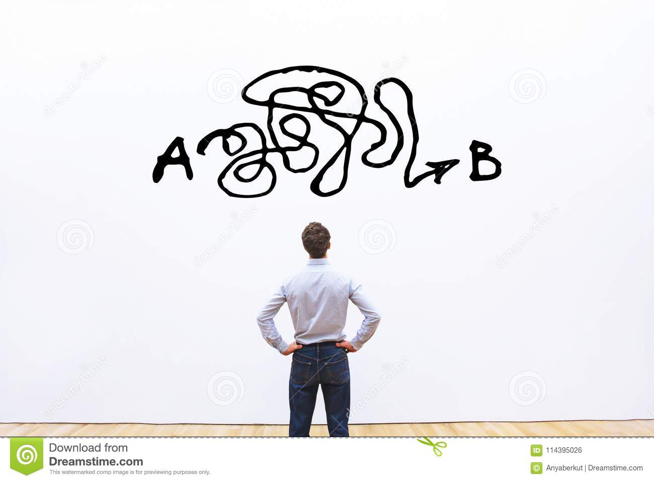 Problem solving, complicated solution from point A to point B, business idea or creativity concept