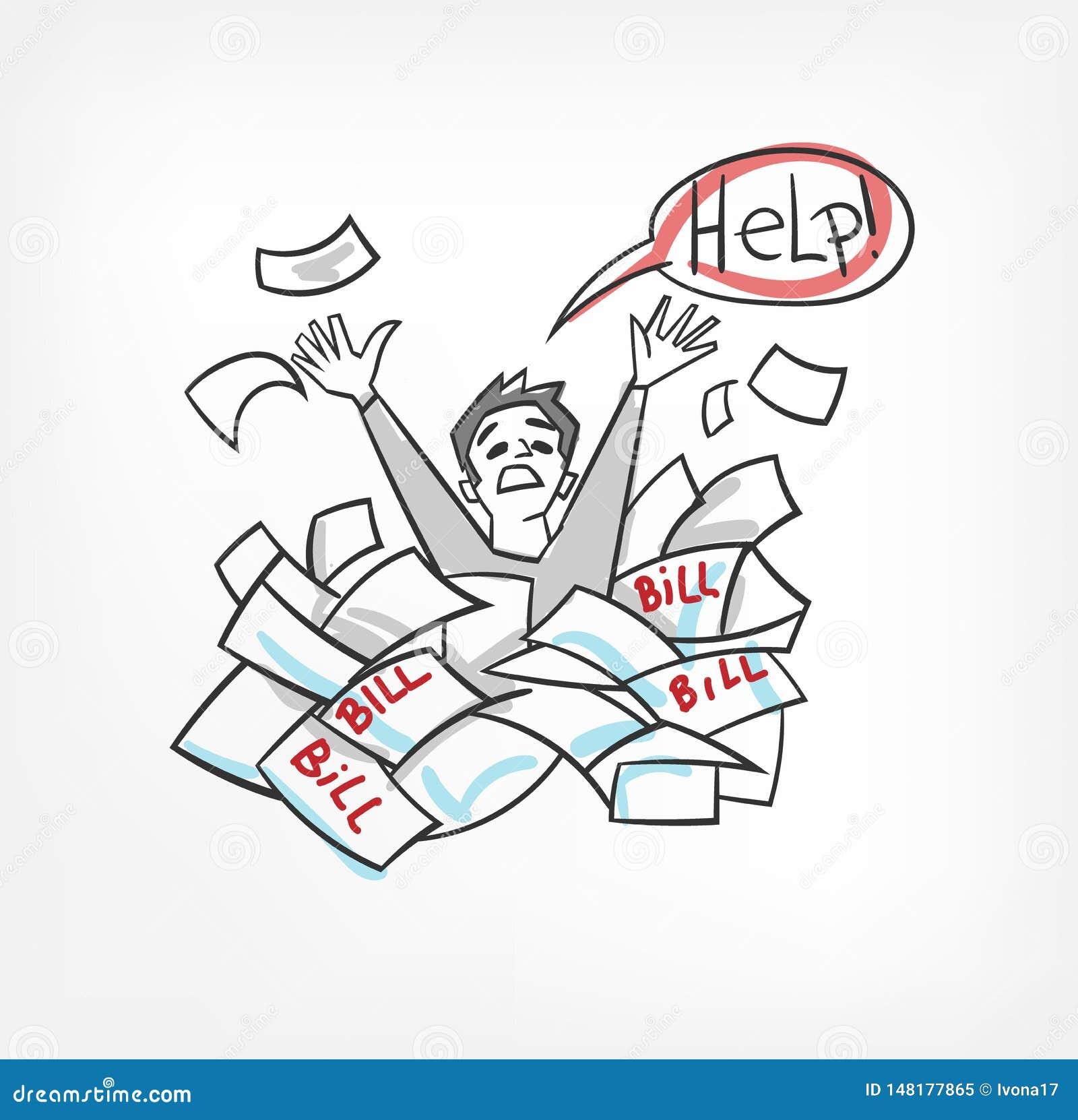 Problema con el ejemplo del vector del concepto de las cuentas que grita para el hombre de la ayuda