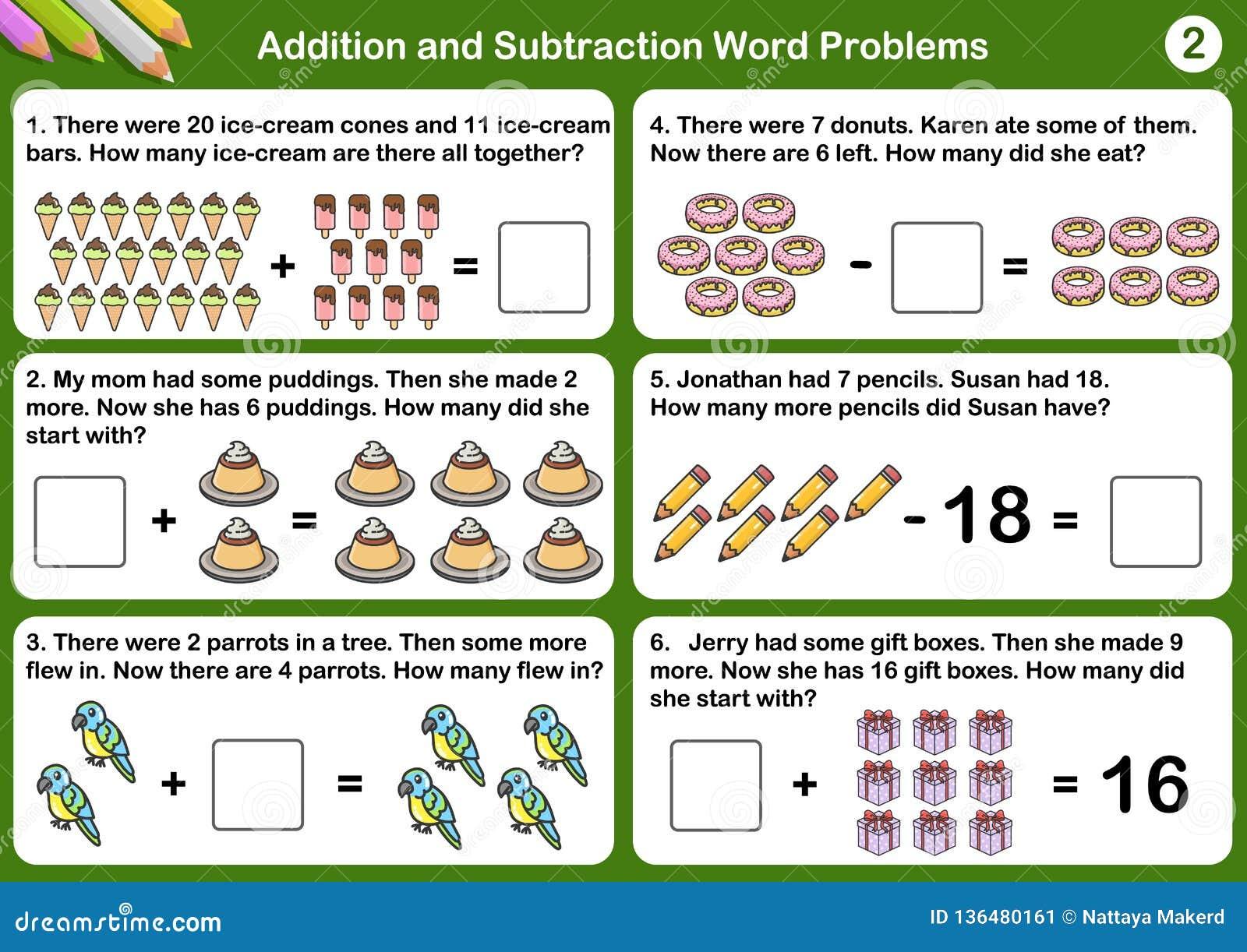 Problemas de la palabra de la adición y de la substracción