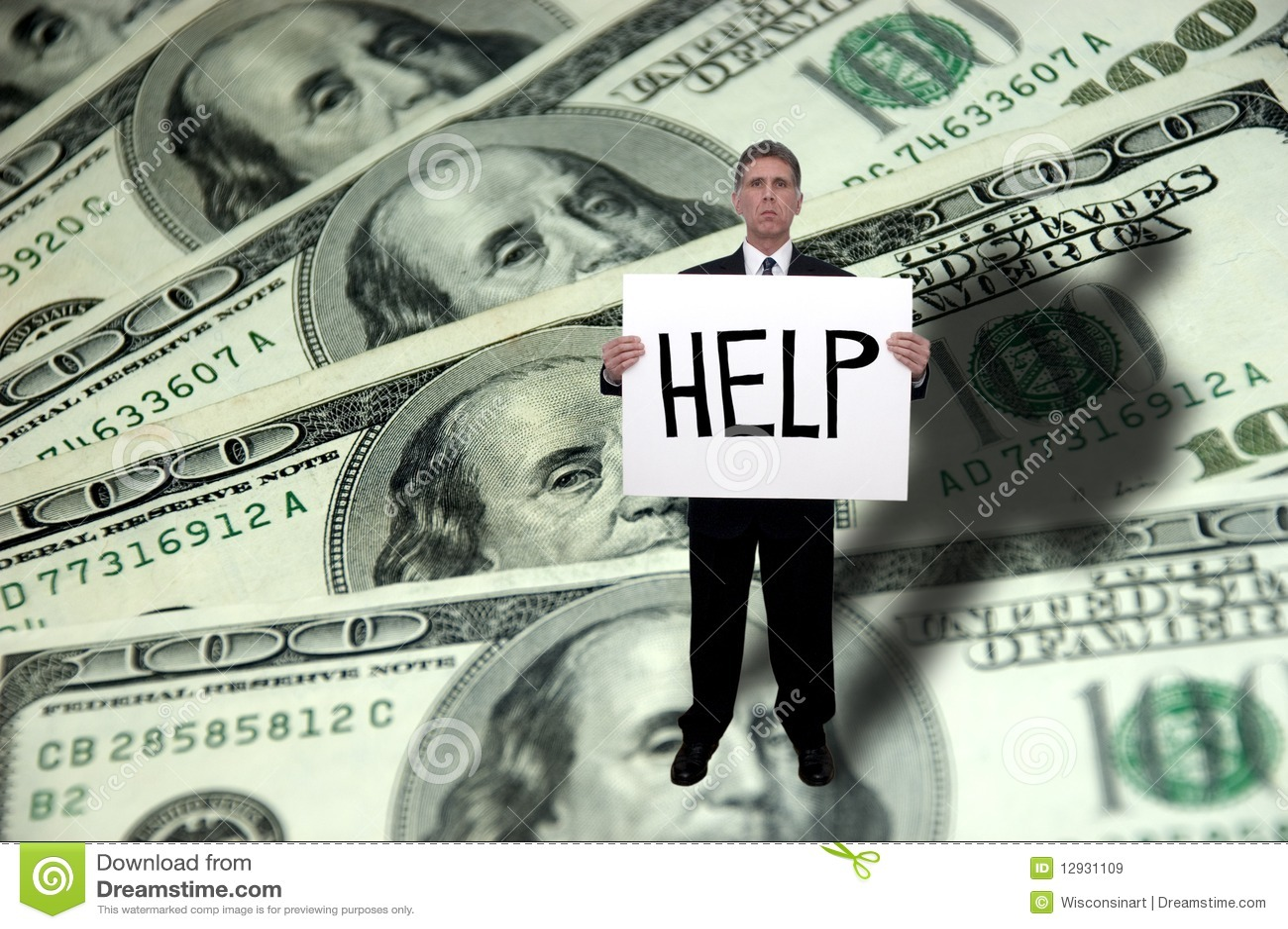 Problemi dei soldi, concetto di guida di bisogno