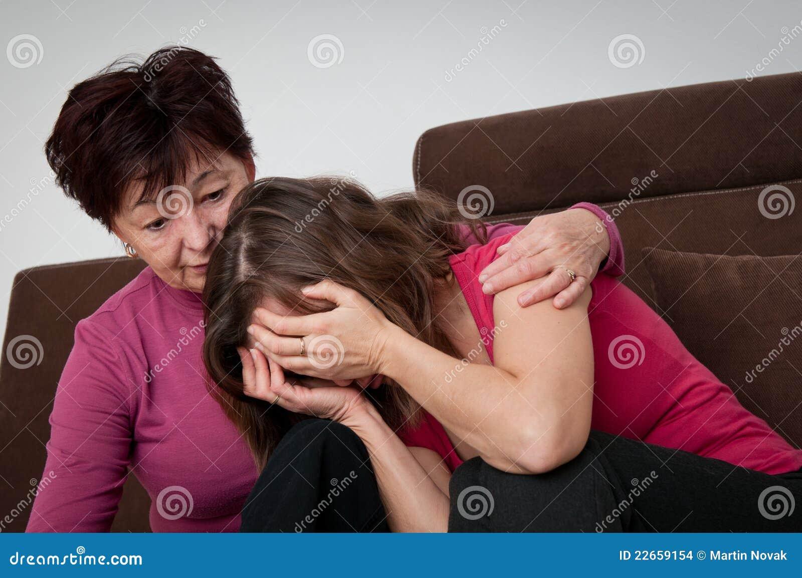 Free Hug Sofa Problems Senior Mother Comforts Daughter Stock Images