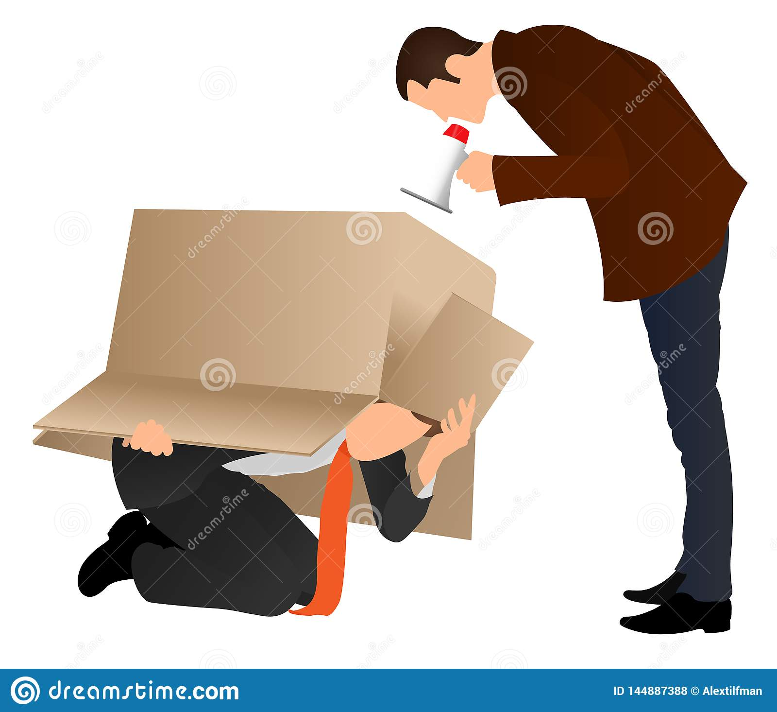 Problems at work. Businessman hiding under cardboard box. Boss screaming with a megaphone. Business concept. Angry boss yelling at