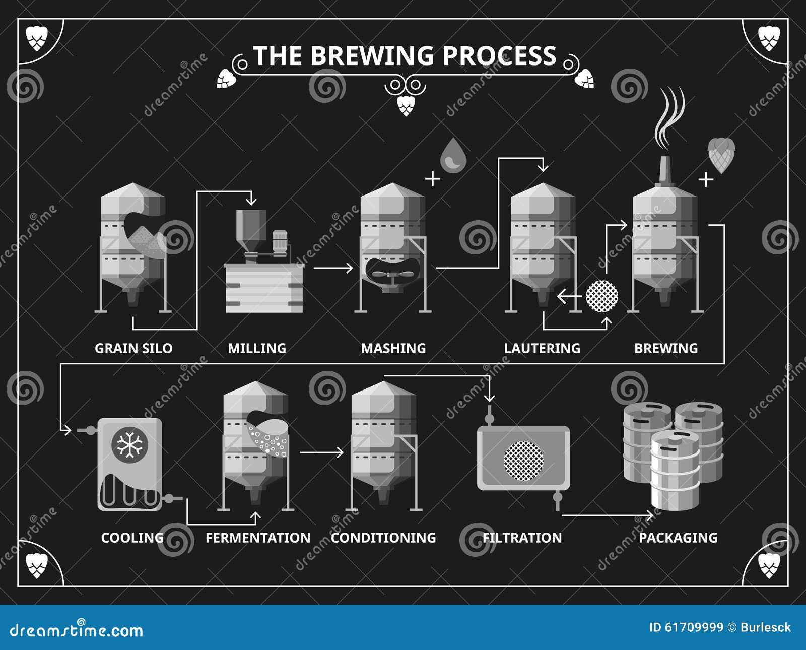 Procédé de brassage de bière Production de bière de vecteur