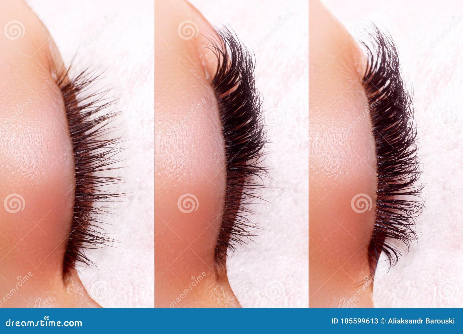 Procedimiento de la extensión de la pestaña La comparación de la hembra observa antes y después