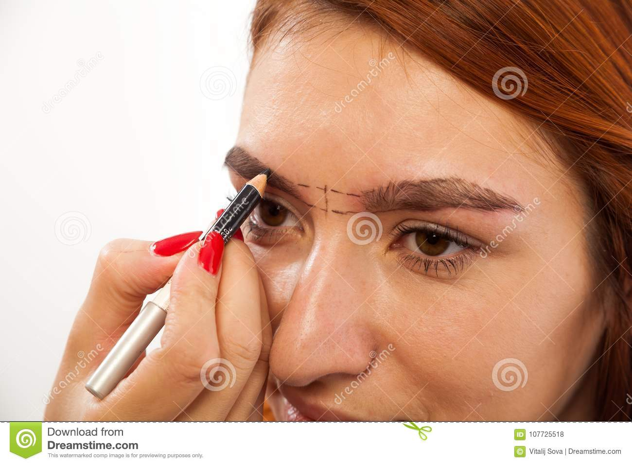 The Procedure For Eyebrow Correction Stock Photo Image Of Long