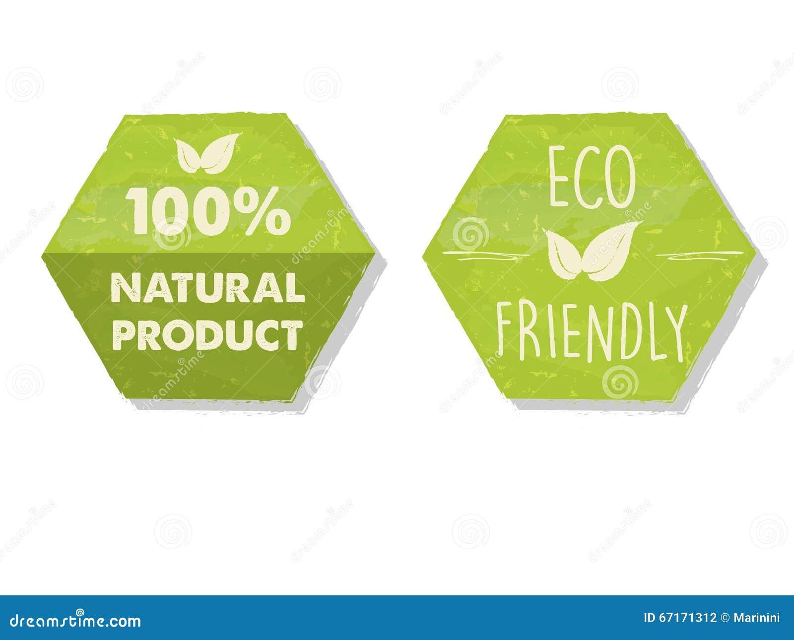 100 procentów naturalni i eco życzliwy z liściem podpisujemy wewnątrz zielonego hex