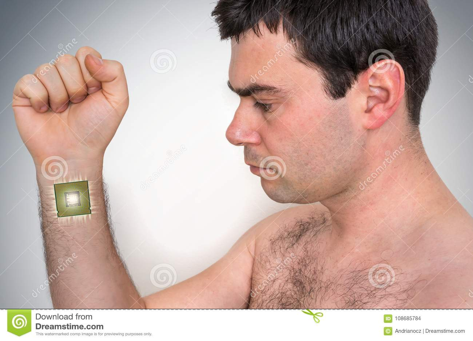 Procesador Biónico Del Microchip Dentro Del Cuerpo Humano Masculino ...