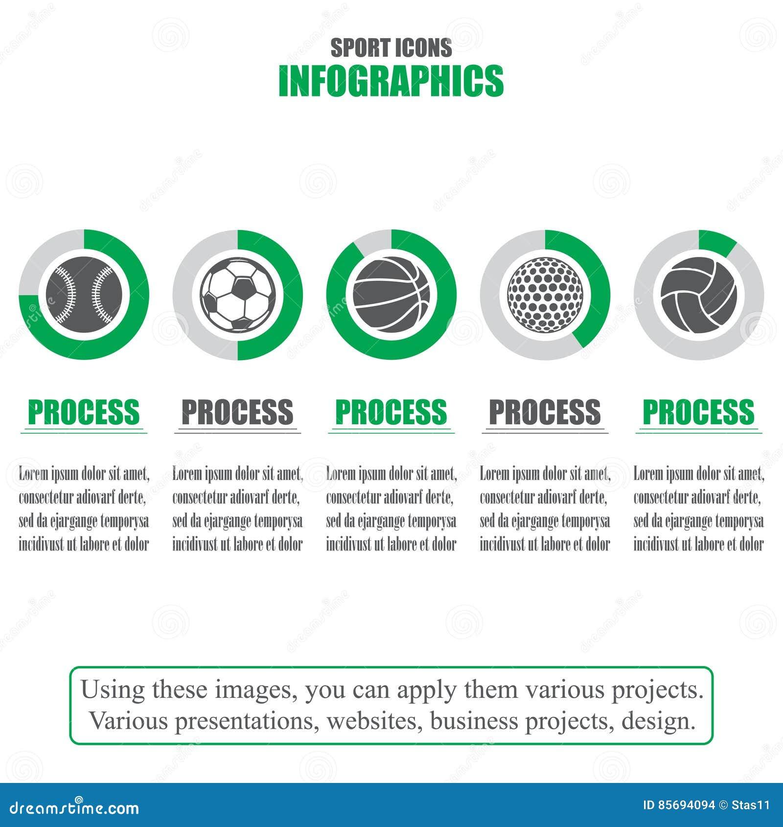 Procesgrafiek Bedrijfsgegevens Reeks sportpictogrammen Vector illustratie