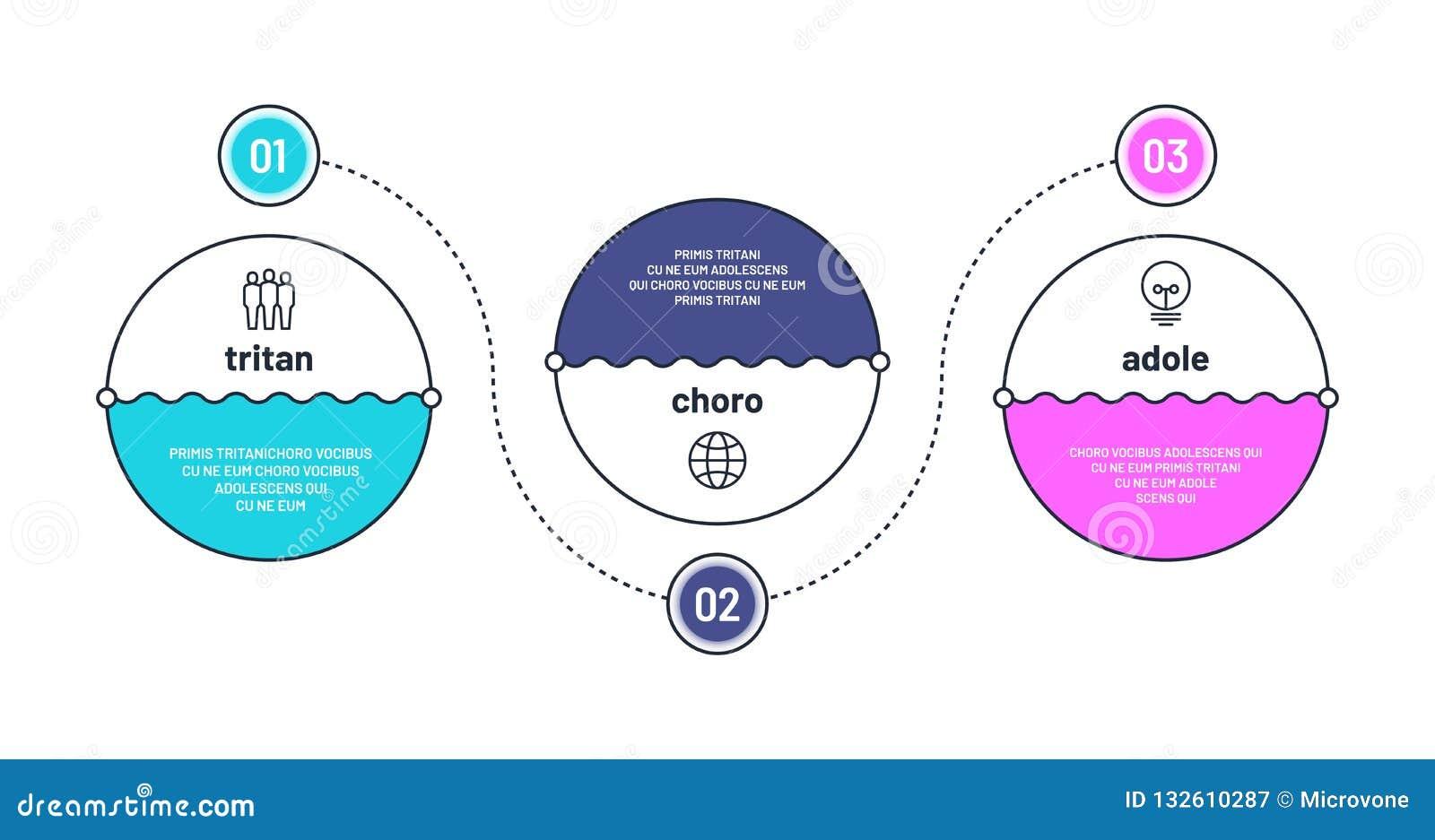Procesgrafiek 3 stap infographic elementen Vectorillustratie met gebied voor tekst Zaken drie optiesvooruitgang met aantallen fin