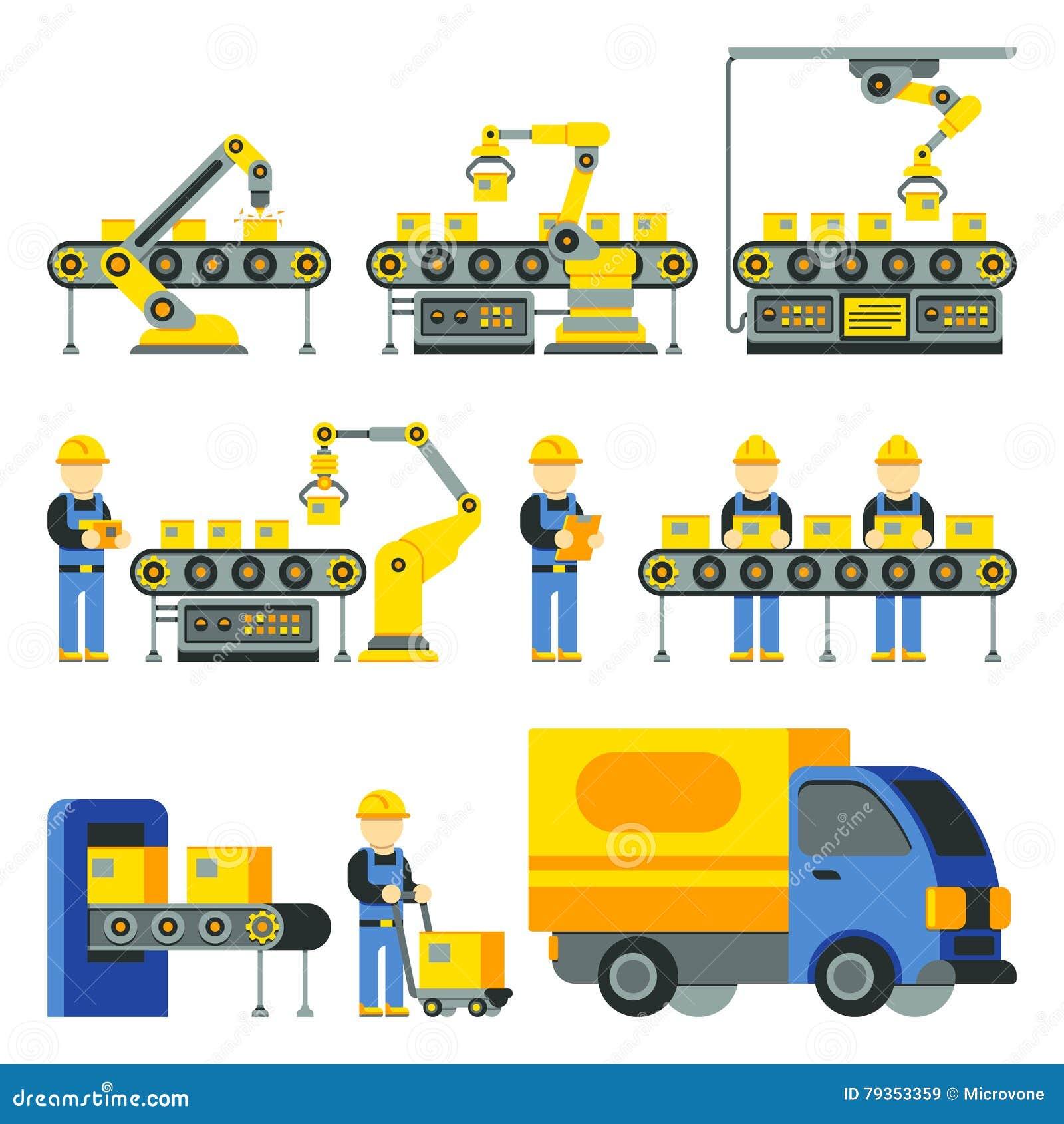 Proceso de fabricación con la línea iconos planos de la fábrica de la producción del vector
