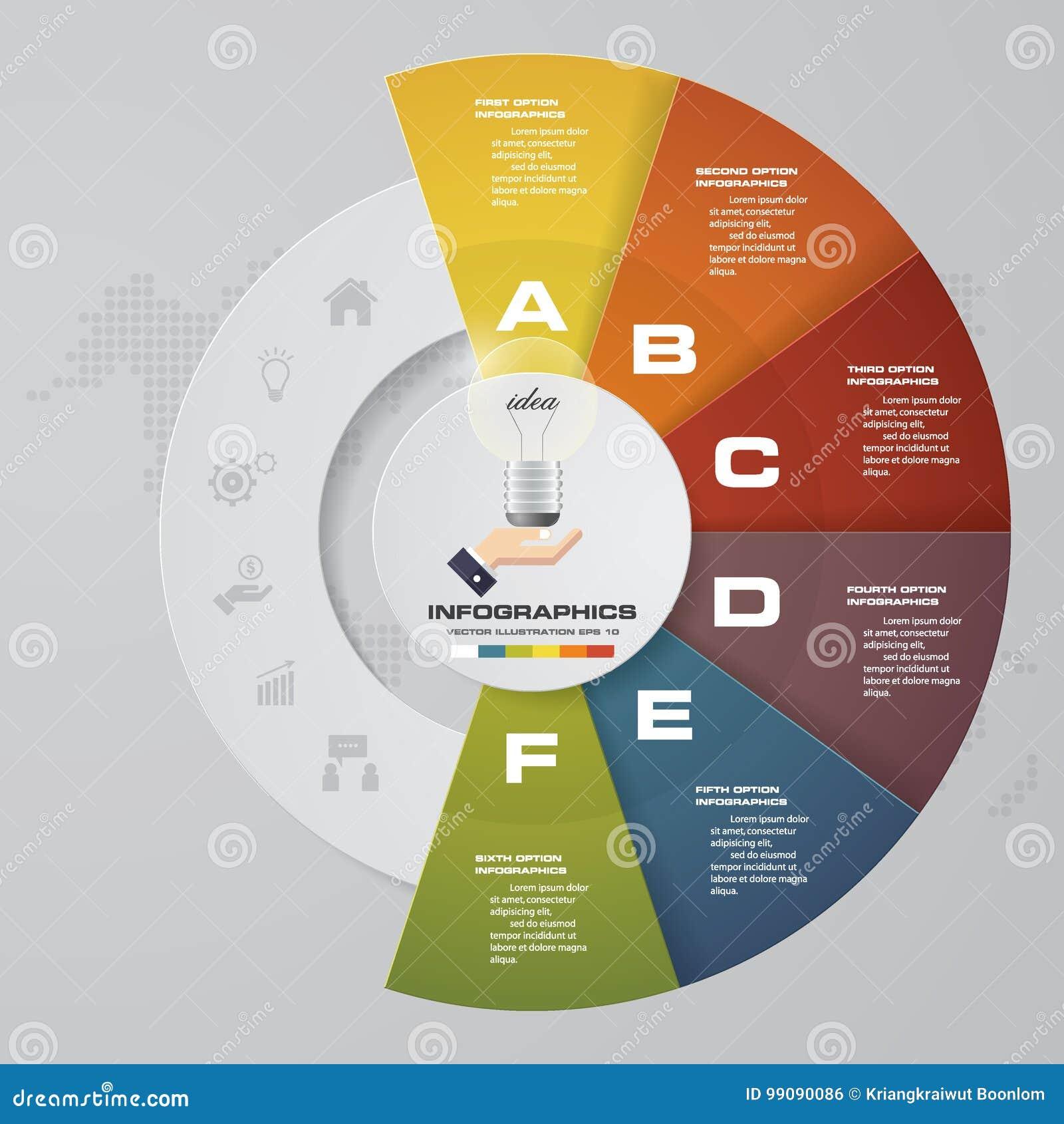 Proceso de 6 pasos Elemento del diseño del extracto de Simple&Editable Vector