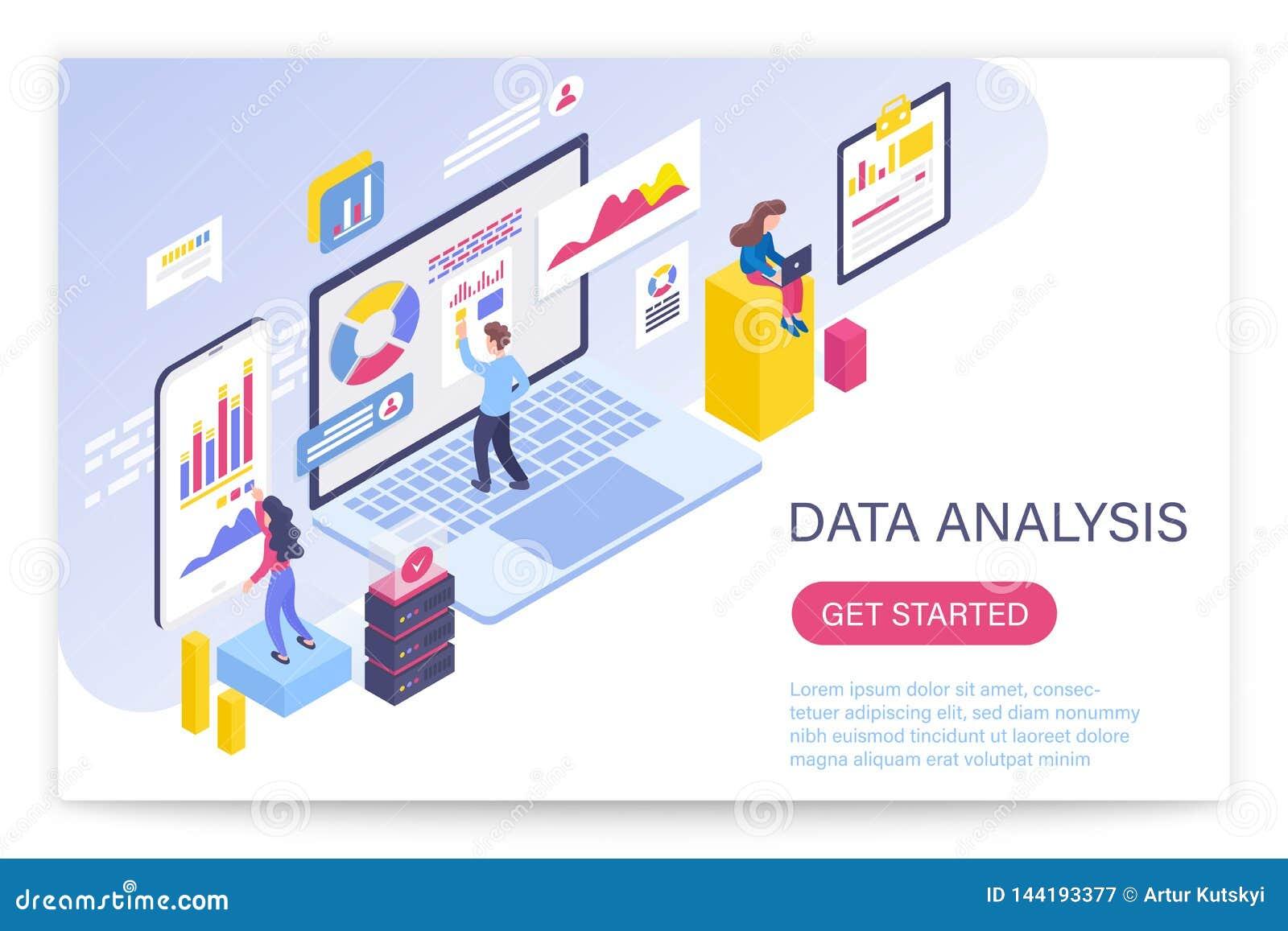 Proceso del análisis de datos, ejemplo isométrico grande del vector del concepto 3d de los datos Gente que obra recíprocamente co