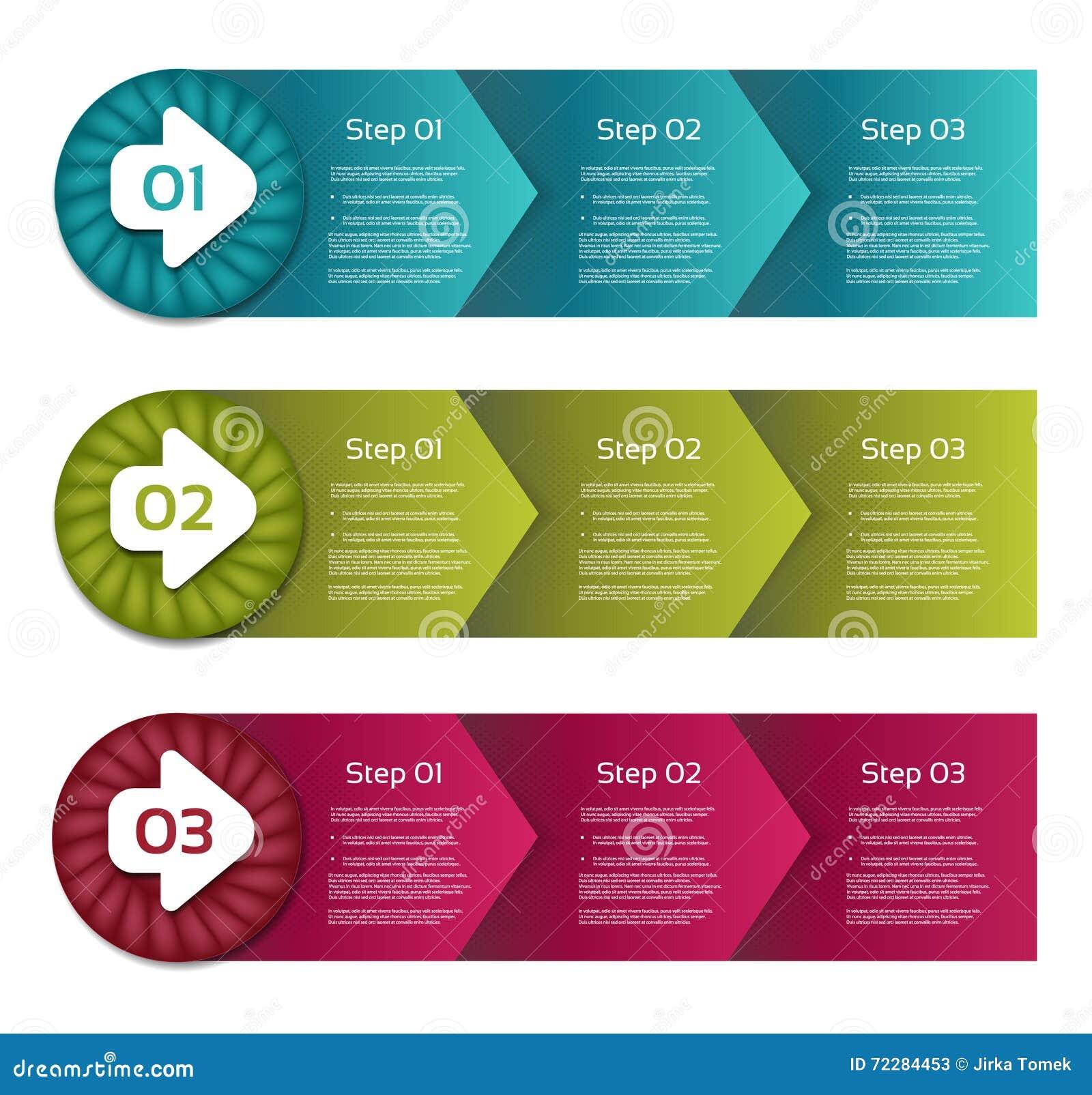 advantages of process flow diagram process arrows boxes step by step vector set three steps