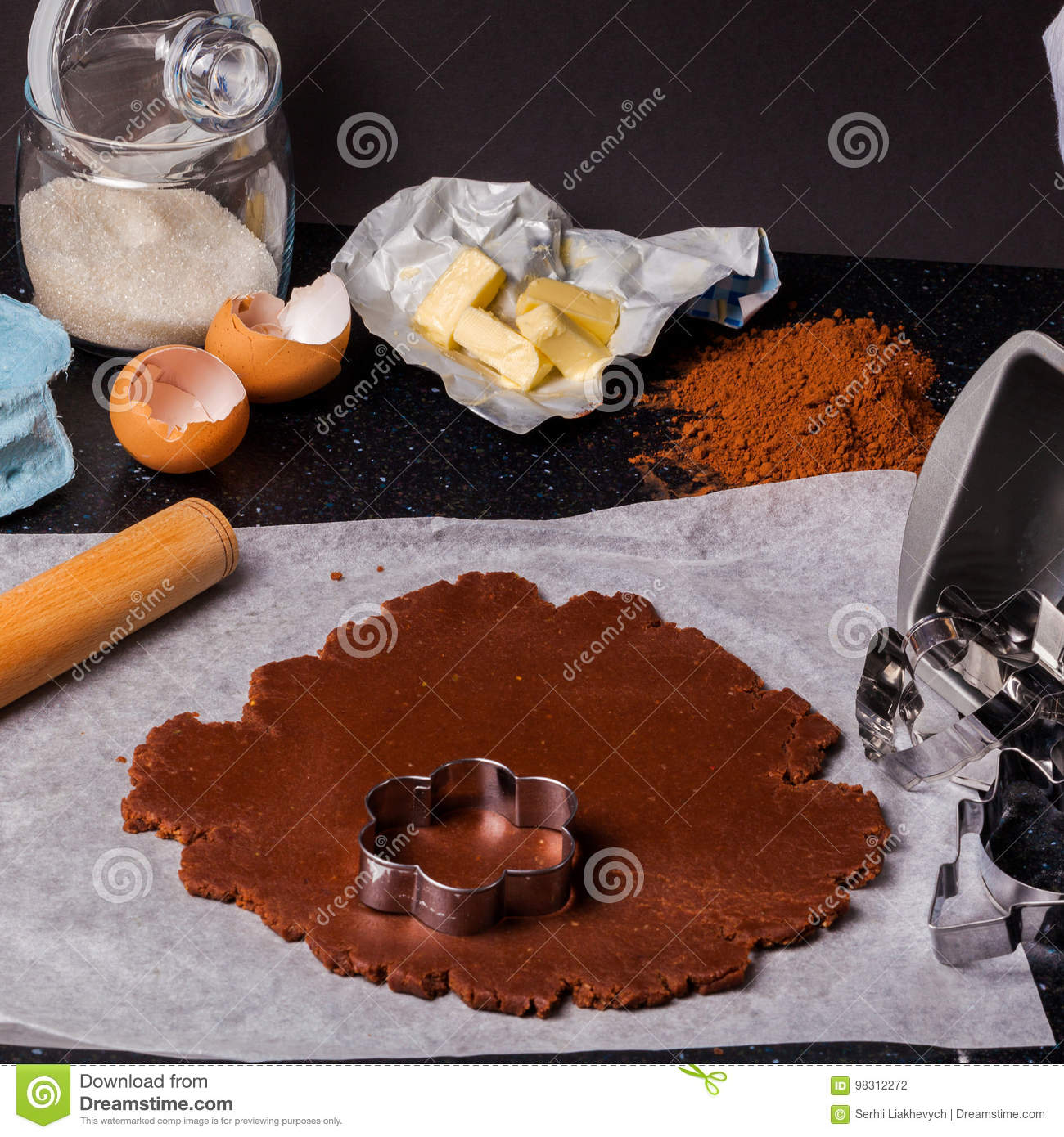 the process of baking a cake
