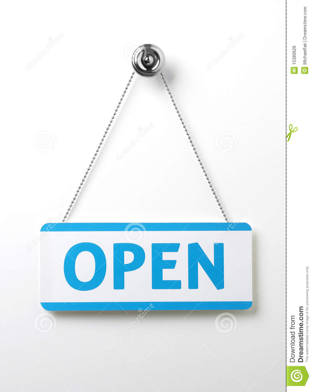 Process blue open door sign on a silver chain on a