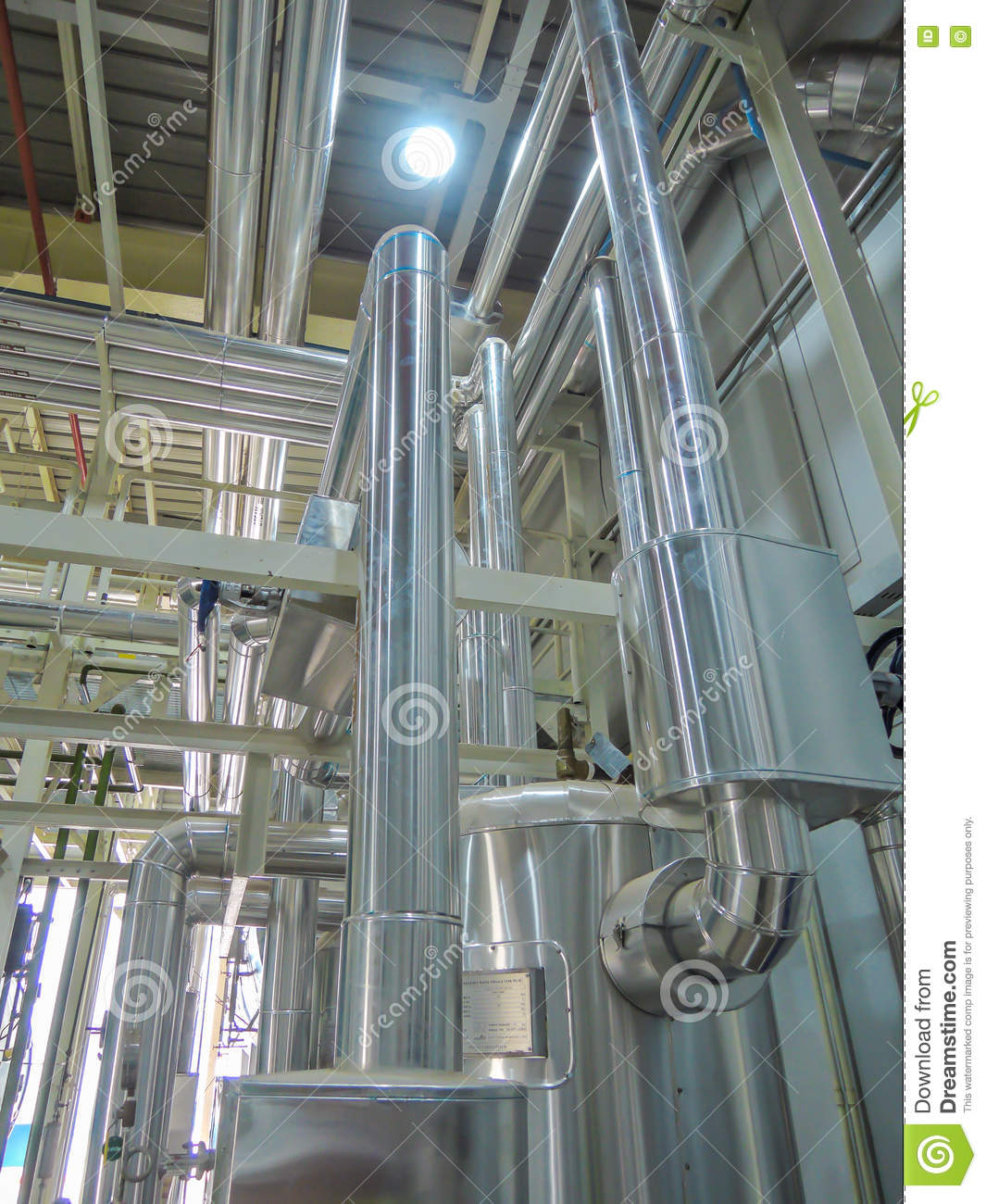 Process Boiler Steel Piping Hot Water Steam In Room. Stock Image ...