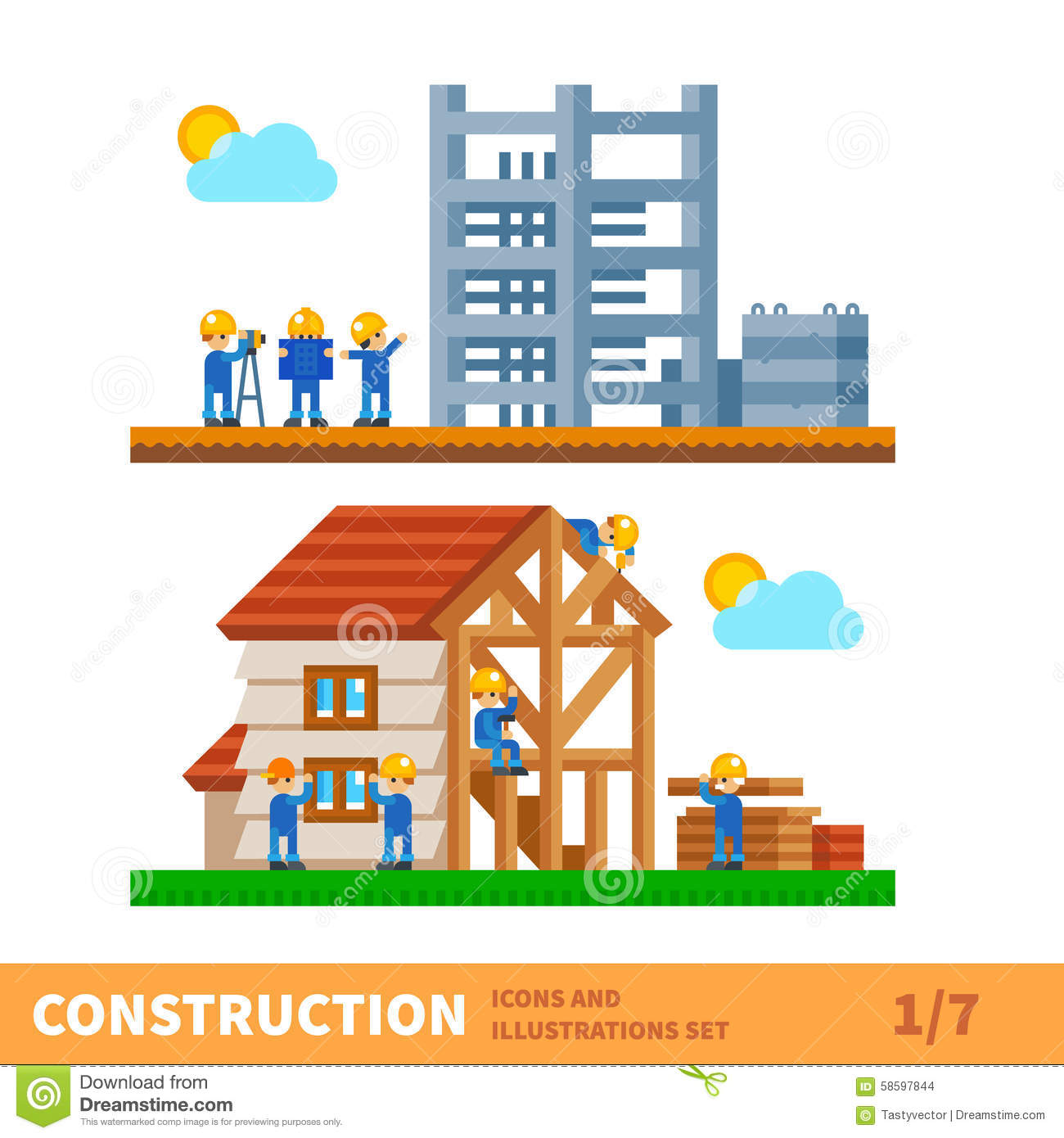 Process of building the house stock vector image 58597844 for Process for building a house