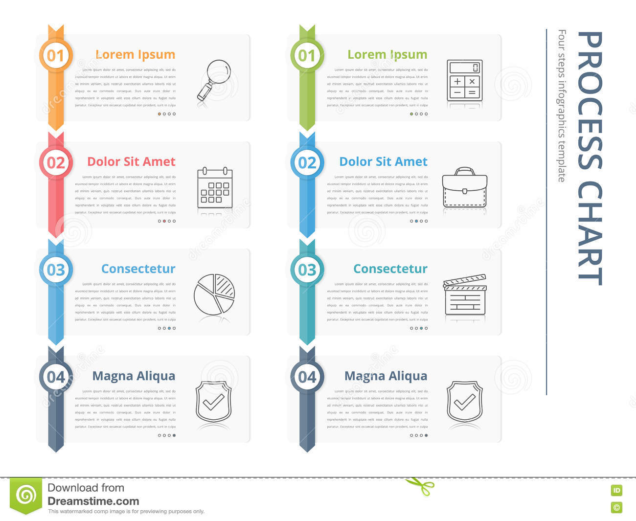 Vertical process chart, flow chart template, infographics design elements  with numbers, and text, business infographics, workflow, steps, options