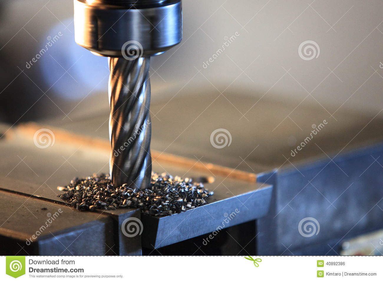 Process Drilling Steel Plate By Milling Machine Stock Photo - Image ...