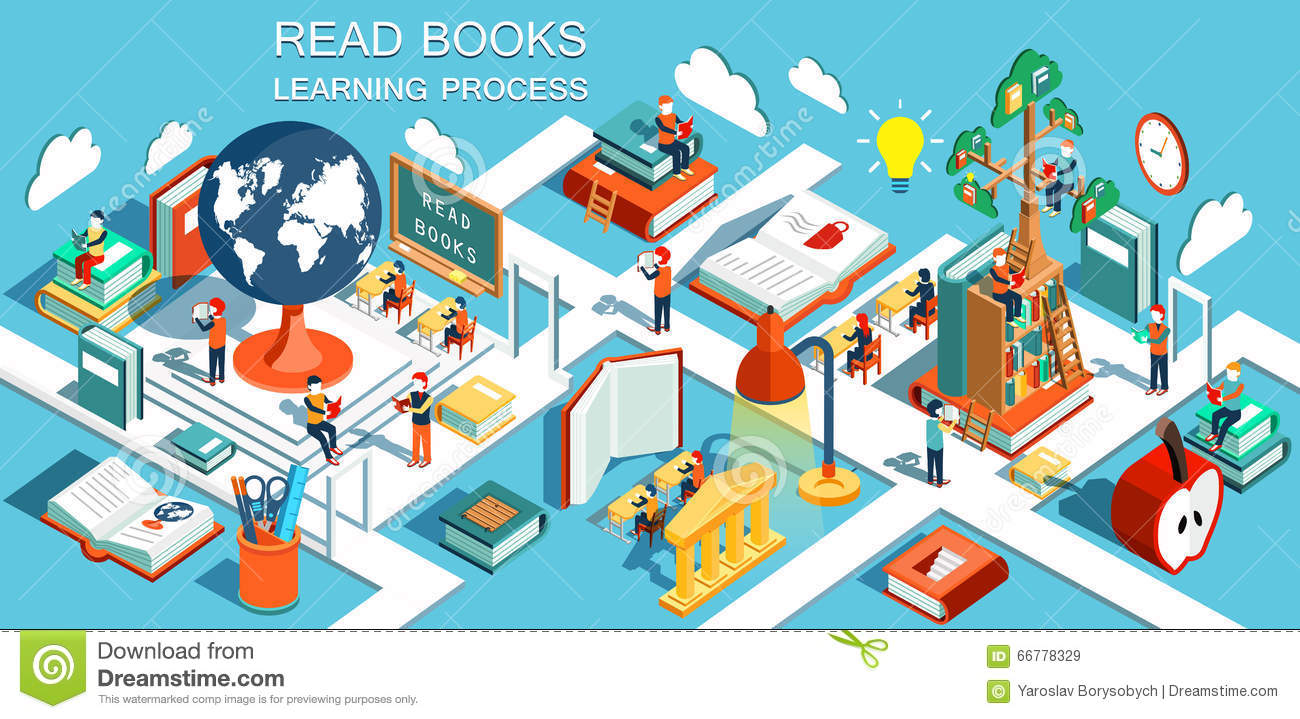 Online Education Isometric Flat Design The Concept Of