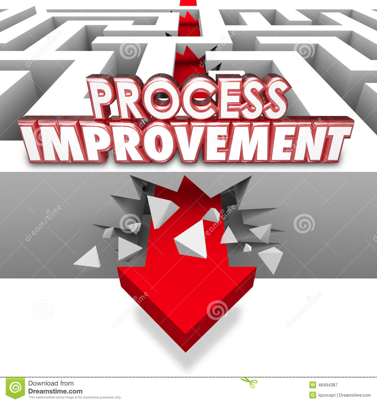 process improvement 3d words arrow breaking through maze