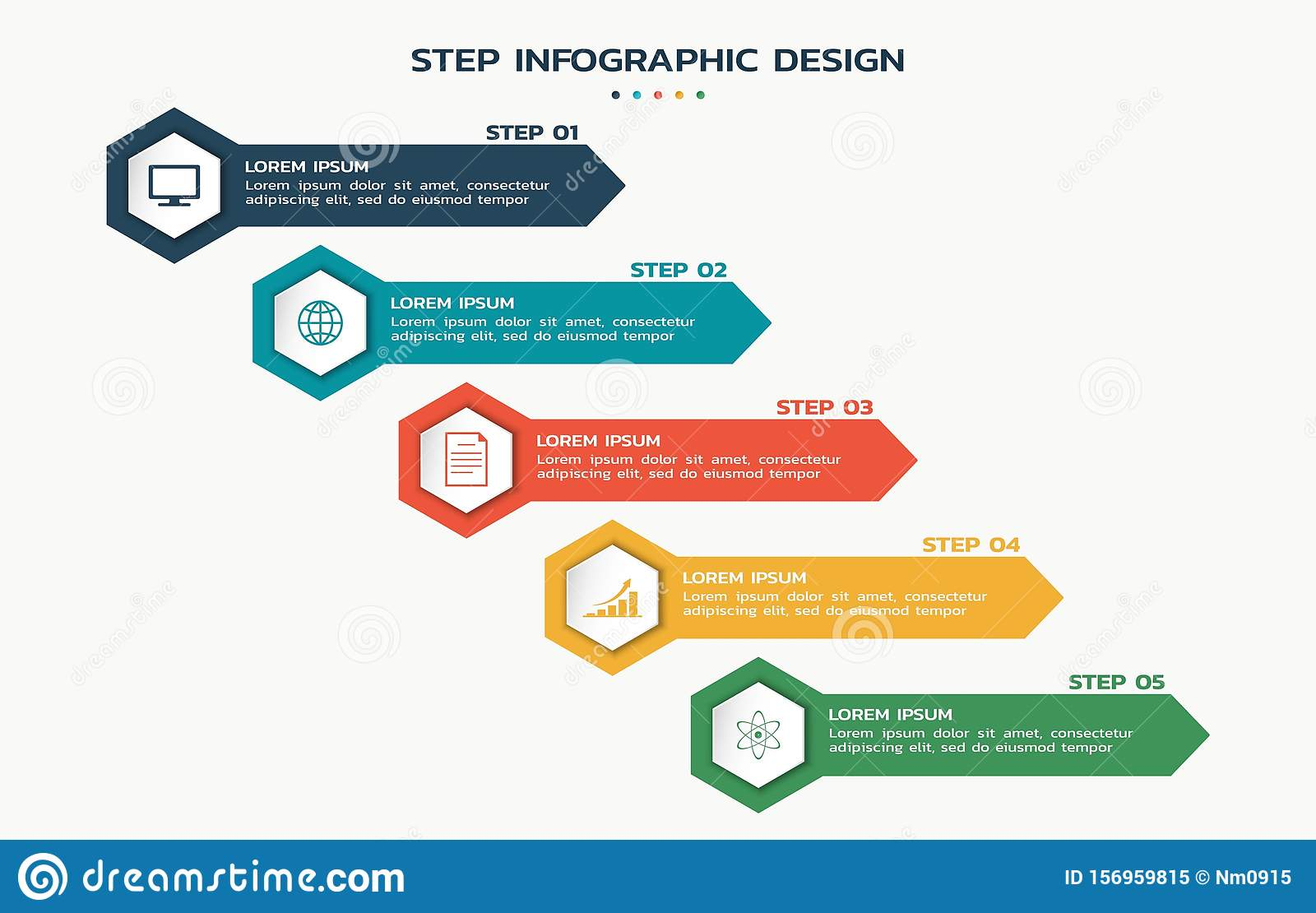 Process infographic. steps flowchart with hexagons with icons and text