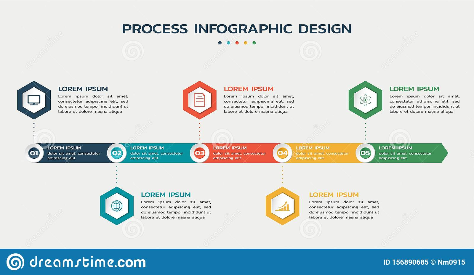 Process infographic template. five steps flowchart with hexagons with icons and text