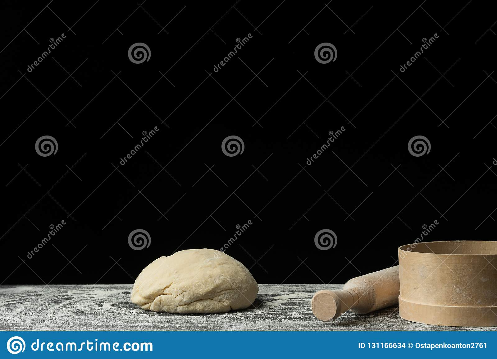 The process of making bread, pasta, sweets or Italian pizza on the village table. Pizza dough
