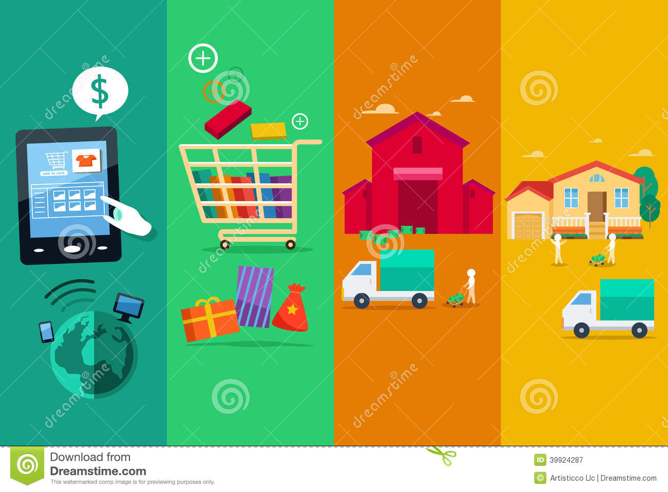 Process Of Online Internet Purchase Stock Vector Image