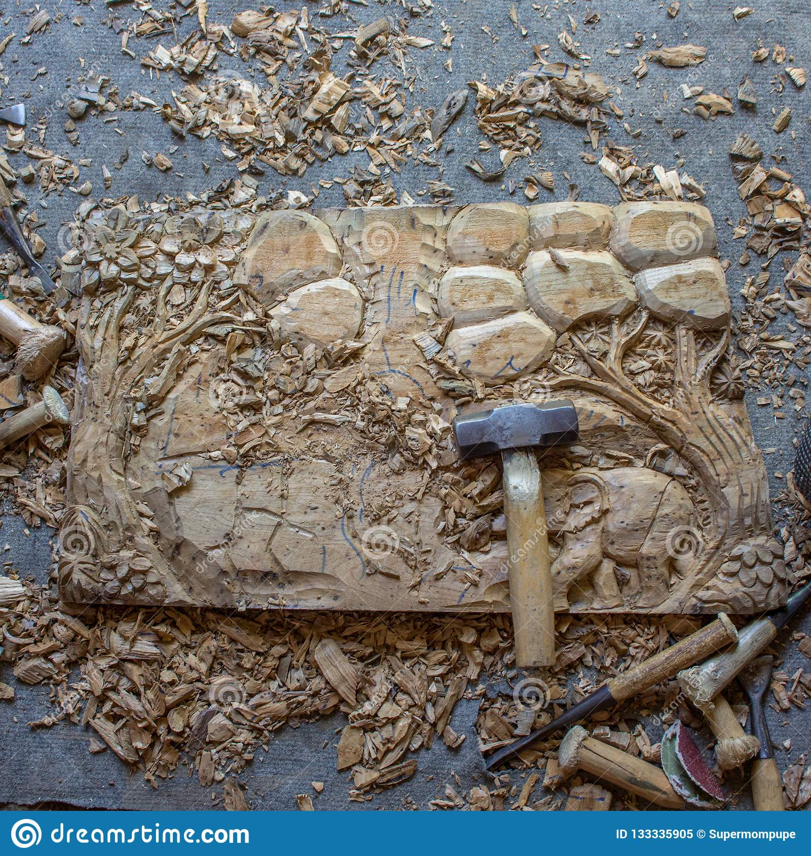 The Process Of Wood Hand-Carving Elephants 3D Wood Hand