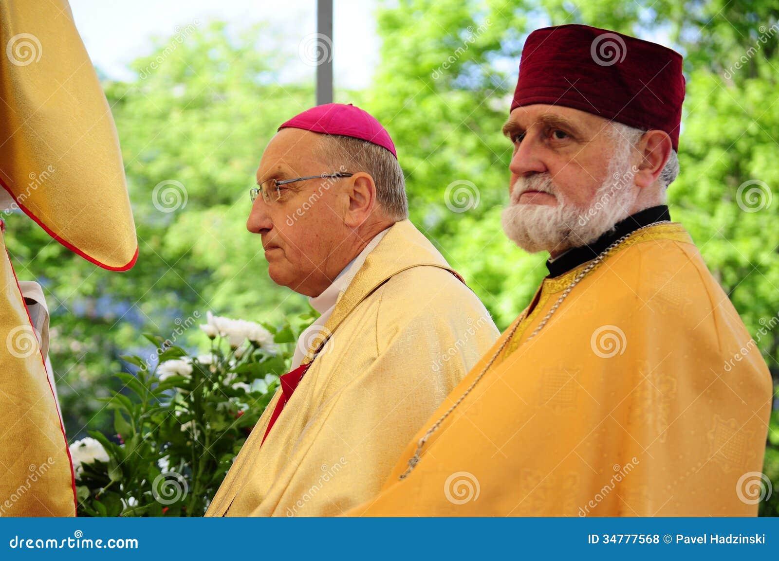 Procession av kroppen av Kristus. Ärkebiskop Tadevush Kandrusievich & Archimandrite Siarhiej Hajek