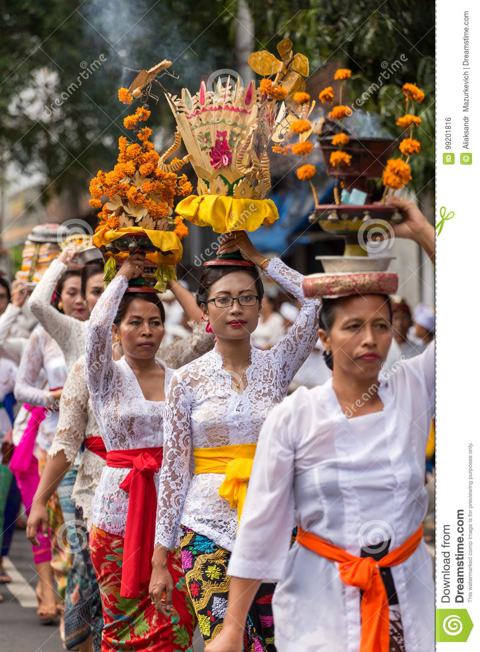 Procession Of Beautiful Balinese Women In Traditional