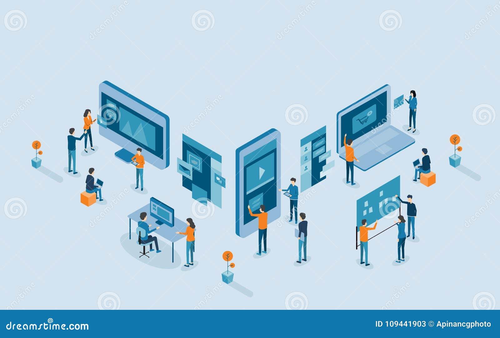 Processo de desenvolvimento móvel isométrico da aplicação e do design web