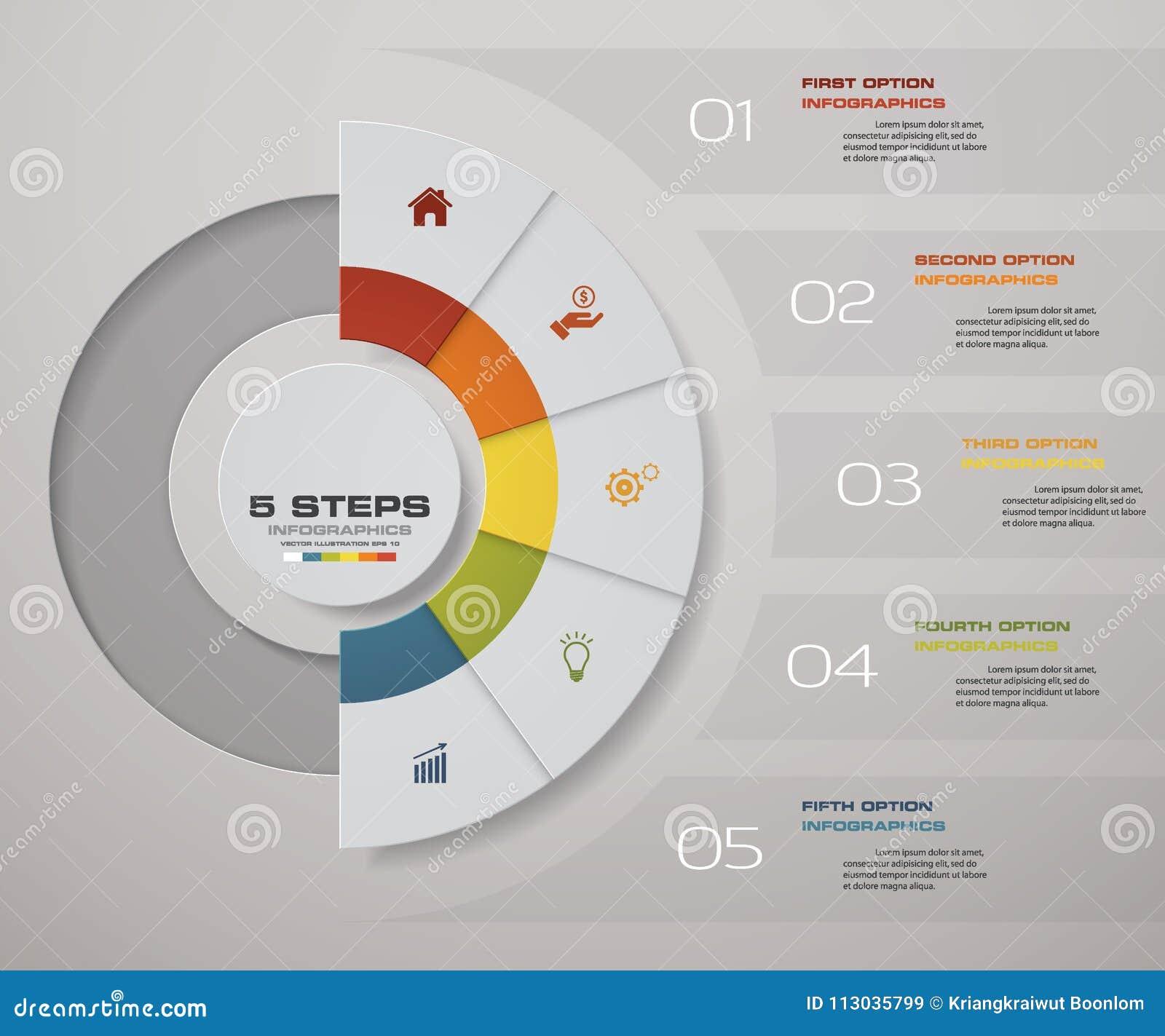 Processo de 5 etapas Elemento do projeto do sumário de Simple&Editable Vetor