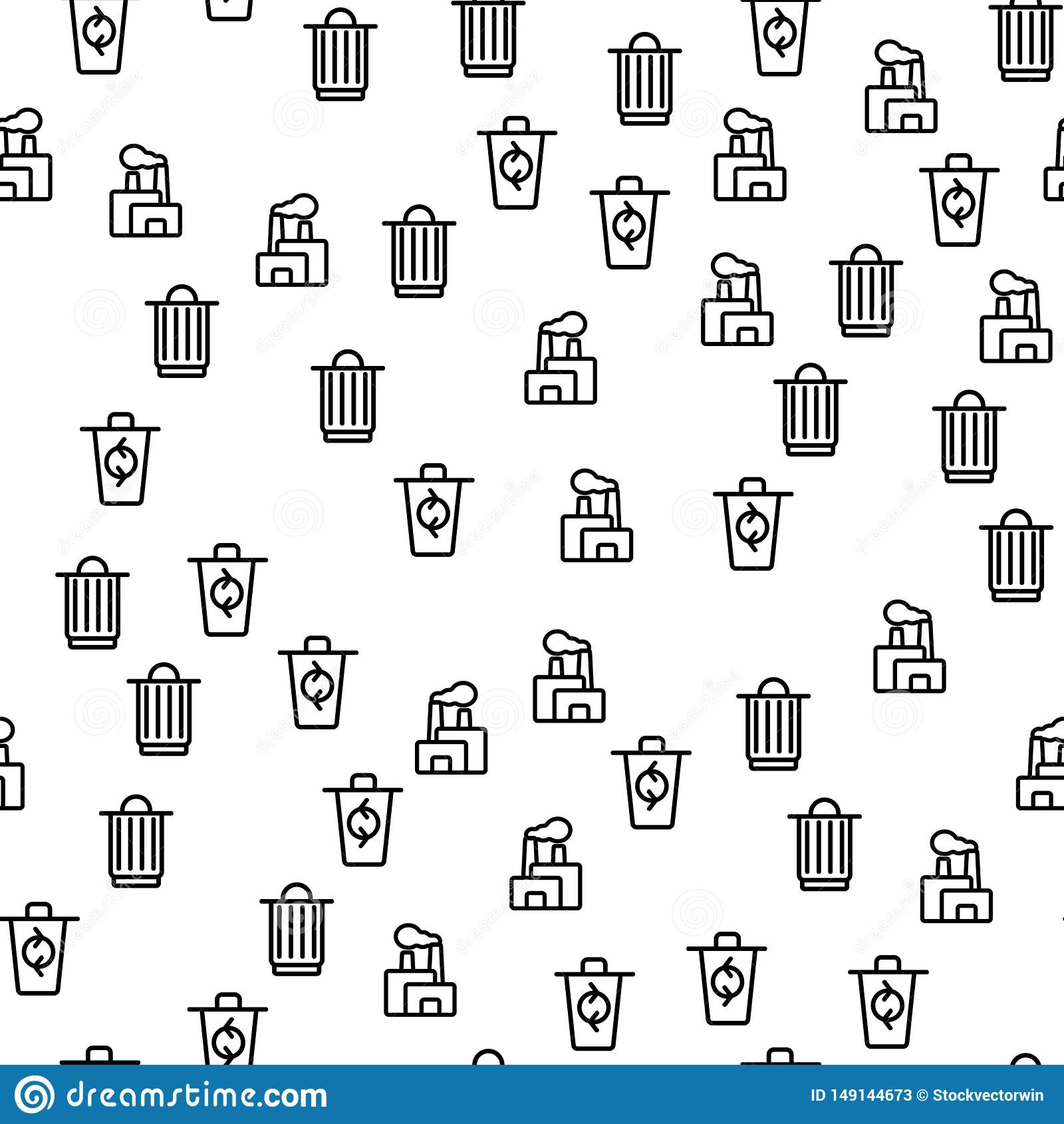 Processo dei rifiuti che ricicla vettore senza cuciture del modello
