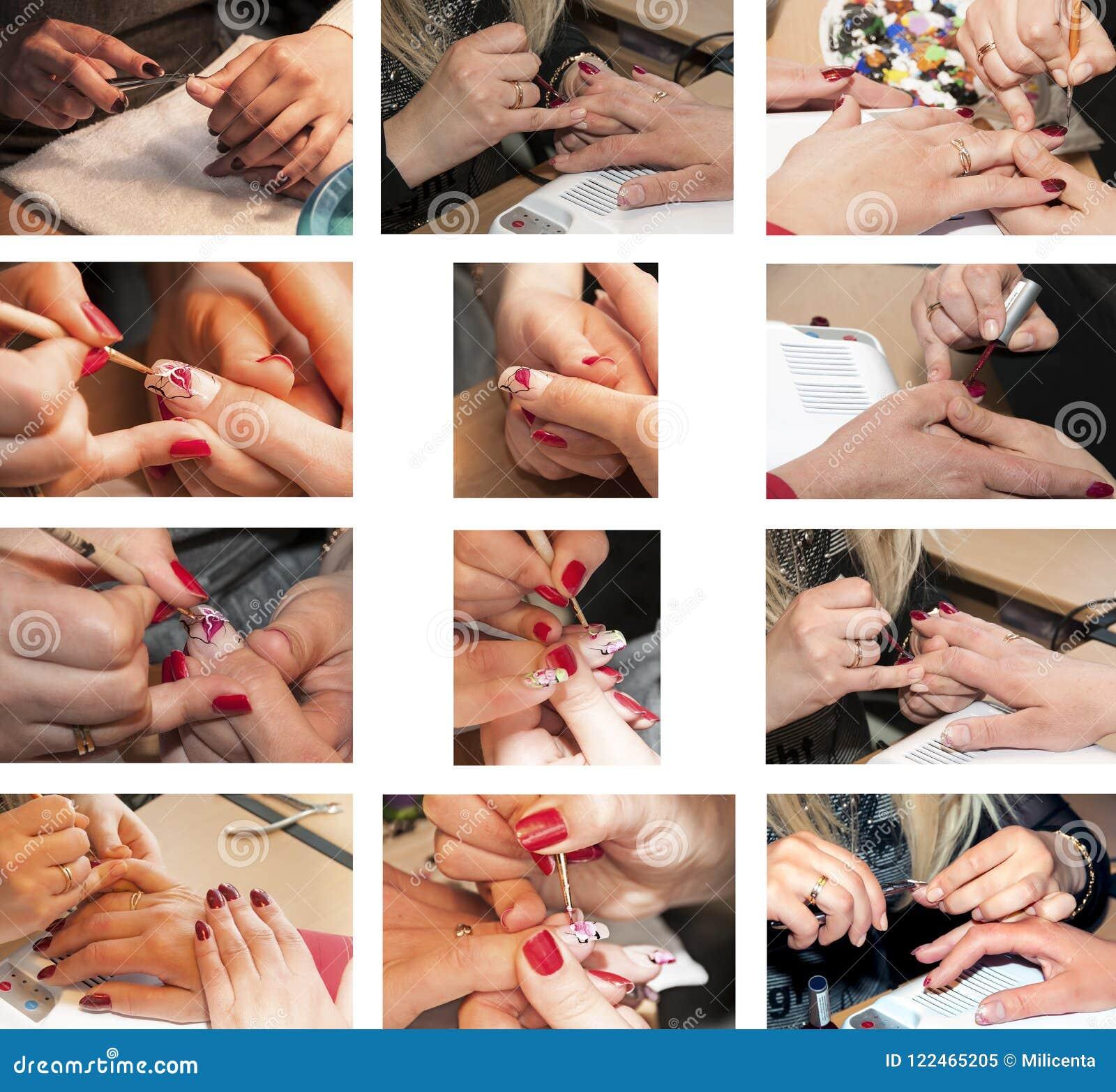 Processo del manicure del collage nel salone di bellezza Primo piano