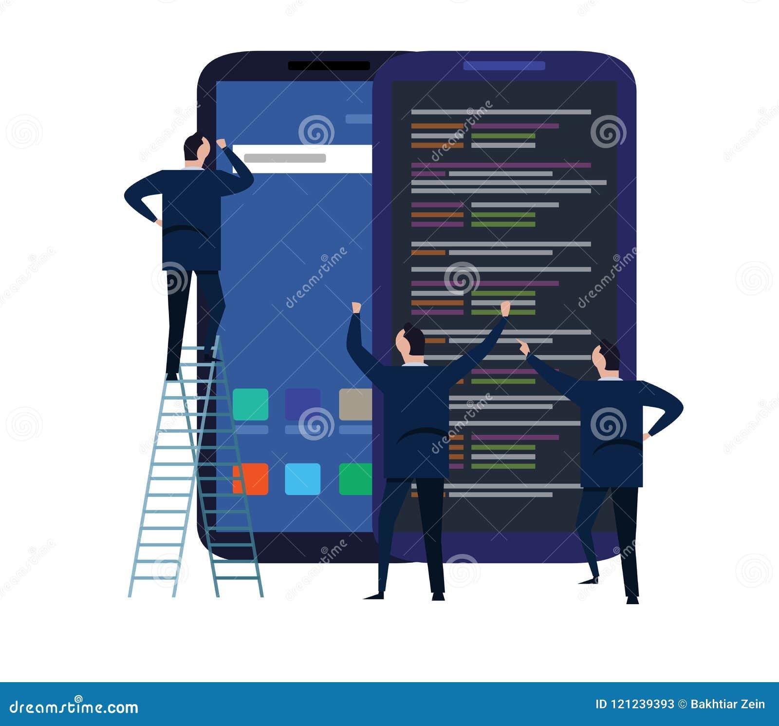 Processo di sviluppo mobile di progettazione e di applicazione per il concetto rispondente del dispositivo con funzionamento del