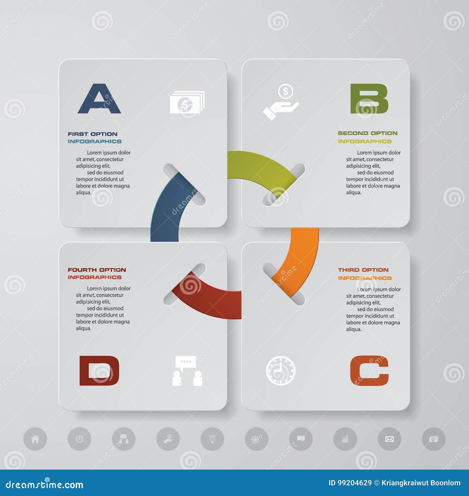 Processo moderno de 4 etapas Elemento do projeto do sumário de Simple&Editable