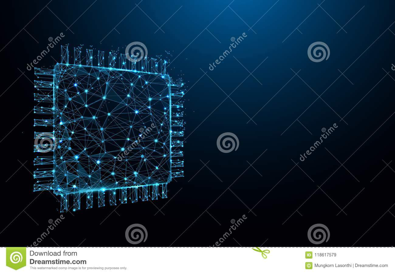 Processor Chip Form Lines Triangles And Particle Style Design Electric Circuit Board Tshirt