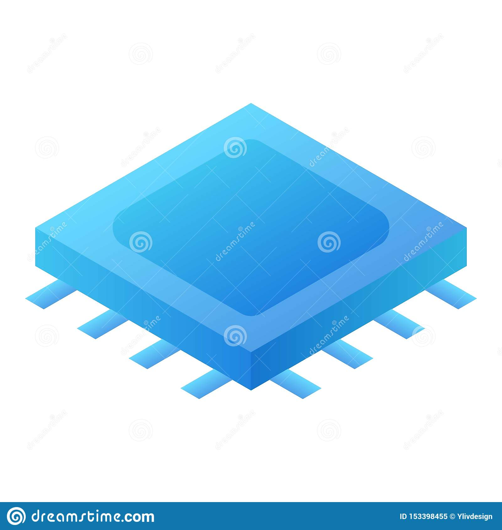 Processor chip icon, isometric style