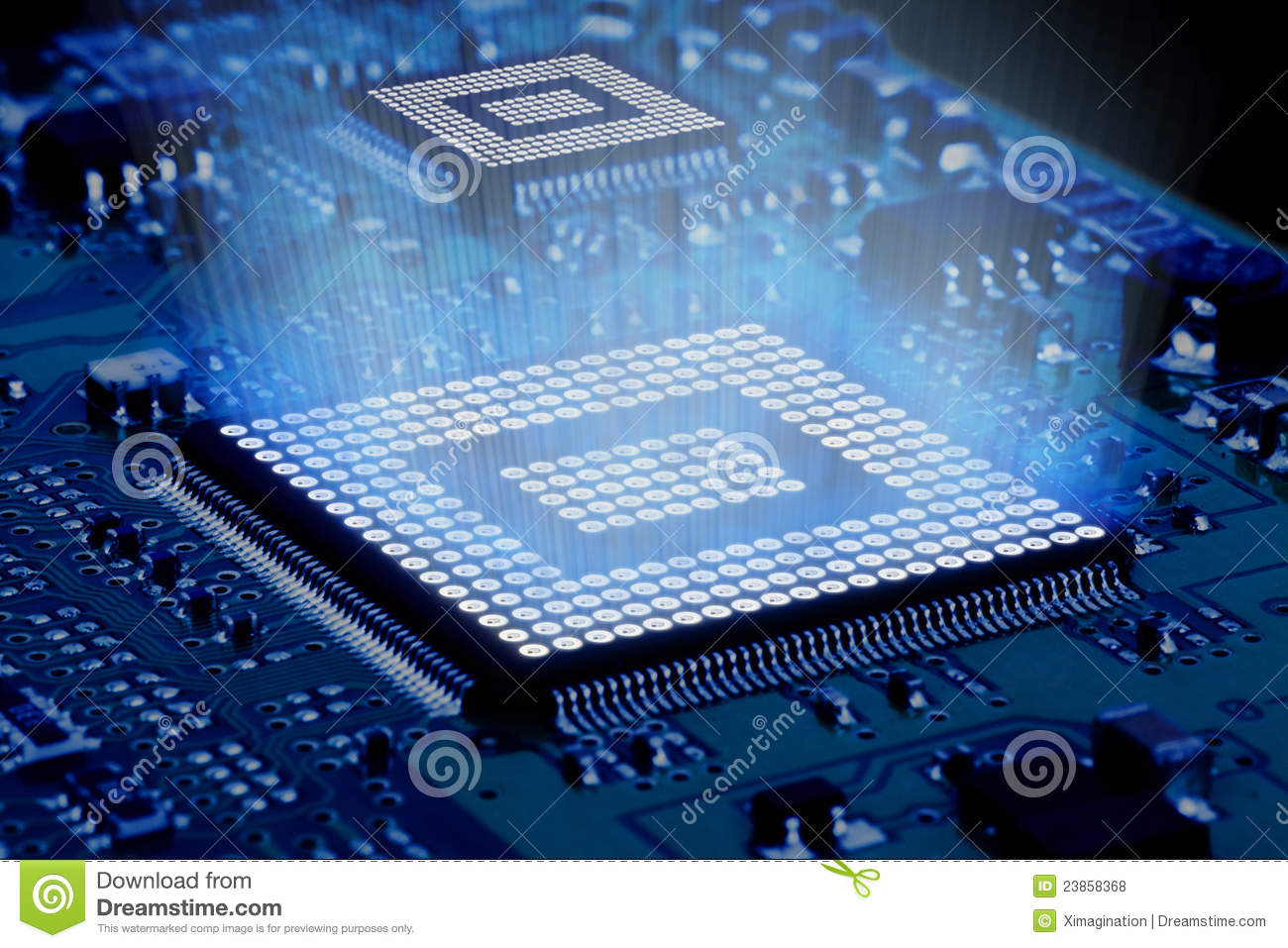 Processor And Motherboard Royalty Free Stock Photos