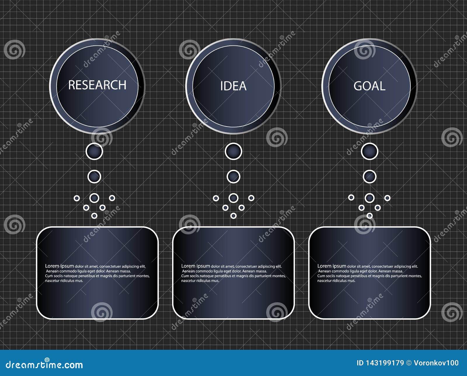 Processus étape-par-étape d Infographic de 3 articles ou options, calibre Schéma fonctionnel de bannière d affaires de vecteur ou