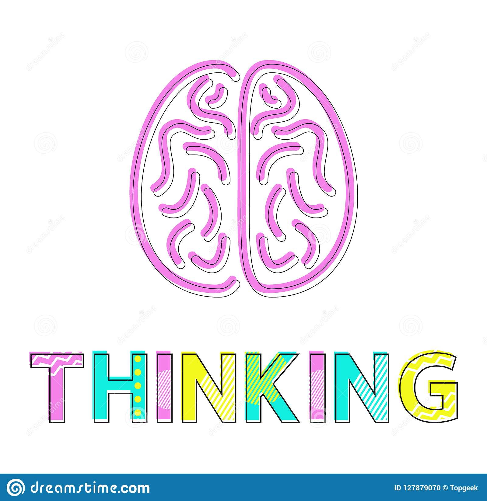 Processus de pensée et Brain Icon Colorful Card
