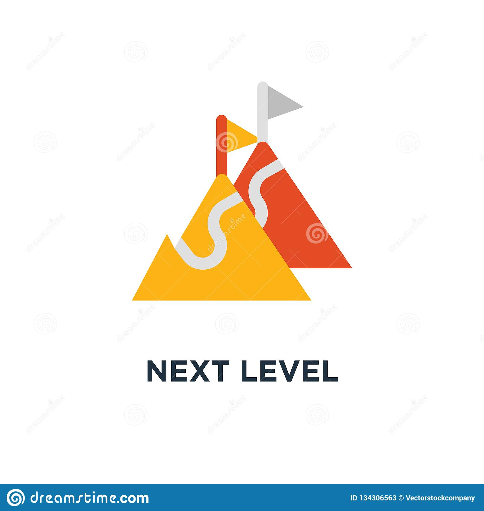 Prochaine icône de niveau hausse, ambition à long terme, future conception de symbole de concept d aspiration, manière au succès,