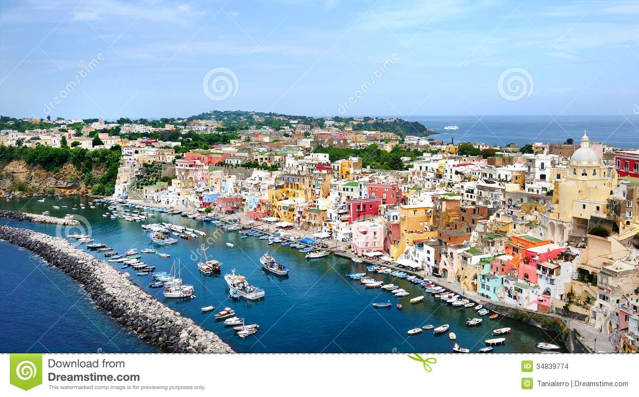 Beautiful panoramic view of the colorful island of Procida in the Gulf ...