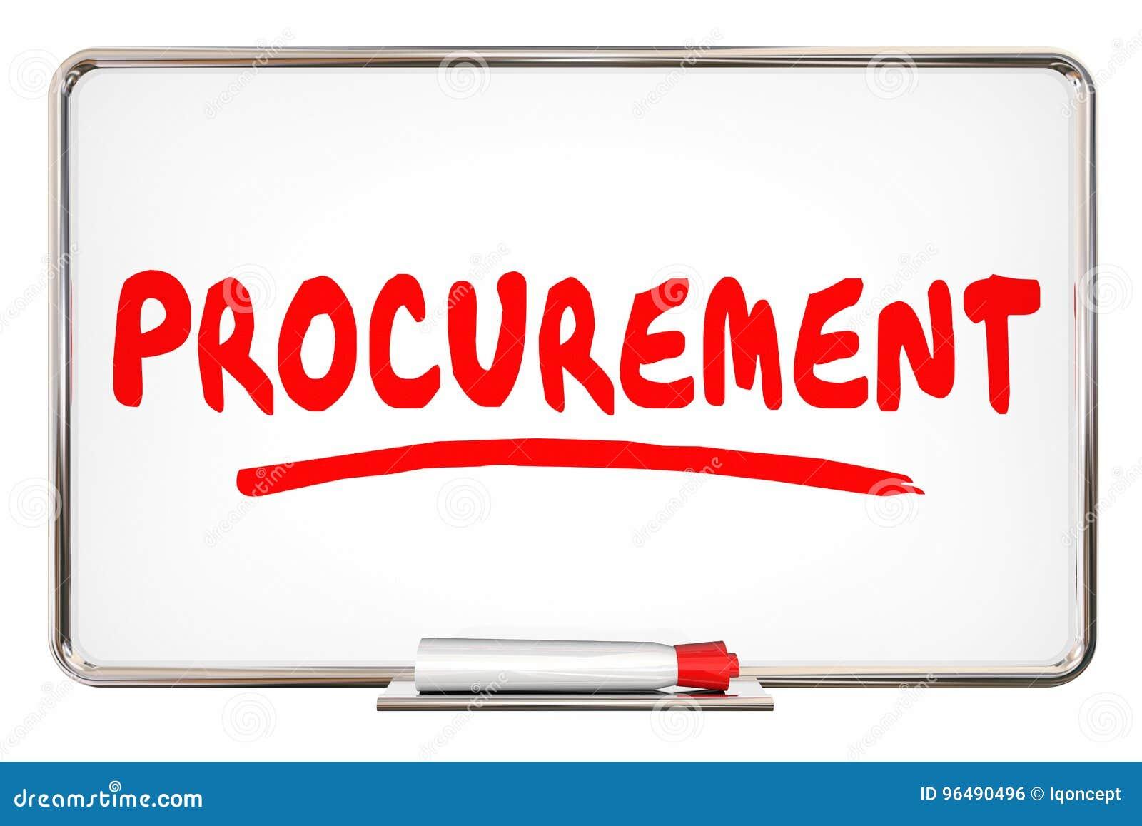 procurement process purchasing system word on board 3d illustrat