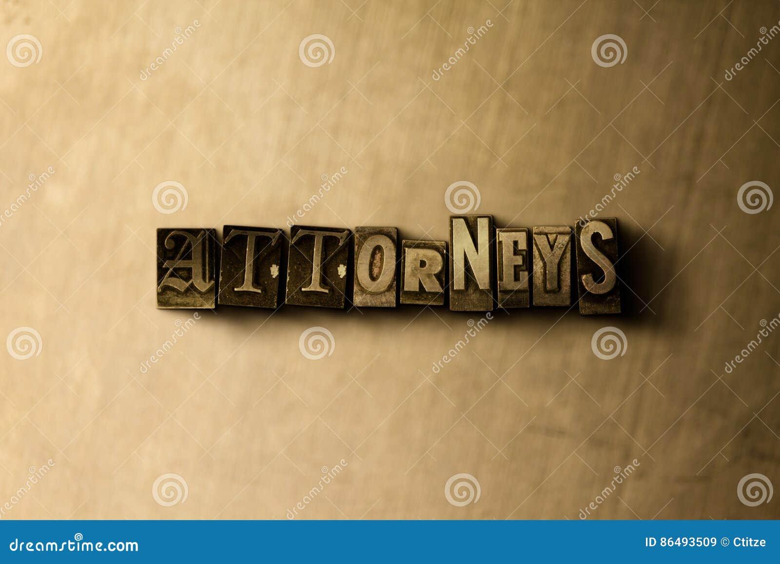PROCUREURS - close-up van grungy wijnoogst gezet woord op metaalachtergrond